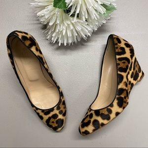 J Crew Collection Martina Leopard Wedge Heel Sz 6